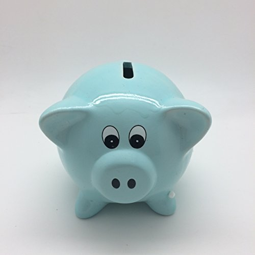 "Blue 4""H Ceramic Piggy Bank Money Saving Toy - 1"
