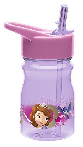 Zak! Designs Tritan Water Bottle with Flip-Up Spout and Straw with Sofia the First Graphics, Break-resistant and BPA-free Plastic, 12 oz.