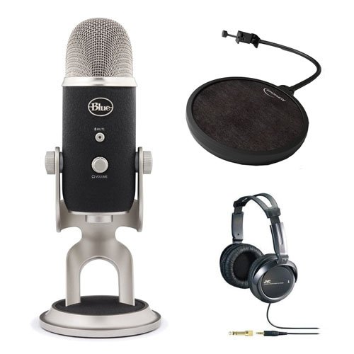Blue Microphones Refurbished Yeti Pro Usb Condenser Microphone With Auphonix Pop Filter For Yeti Microphone & Jvc Full-Size Stereo Headphones
