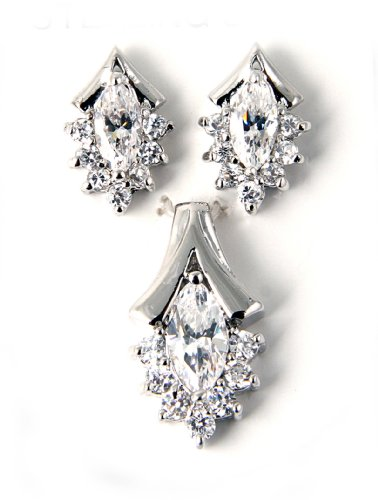 Rhodium Plated Sterling Silver Earring-Pendant Set with Clear CZ Stones