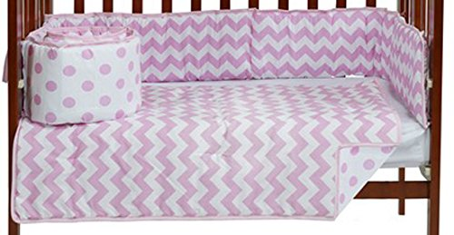Baby Doll Chevron Dot Port- A-Crib Bedding, Pink