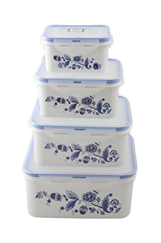 Home Value 4-Piece Food Container, Microwave, Freezer, And Dishwasher Safe. Airtight