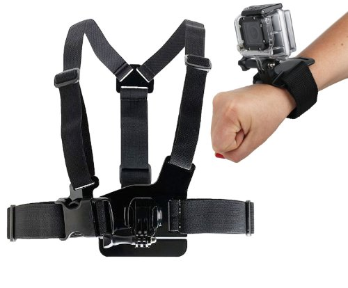 Duragadget Gopro Mount Bundle: Chest Harness Mount + Wrist Strap Mount For All Gopro Cam Models Including Gopro Hero 1, Hero 2, Hero 3, Hero 3+ Plus, Naked/Helmet / Lcd Bacpak (Black, White, Silver, Surf, Outdoor & Sport Editions)