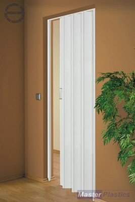 Concertina White Folding Door Pre assembled 85 cm Max Door Opening