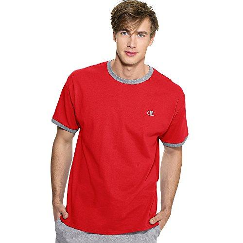 Champion Cotton Jersey Men's Ringer T Shirt_Crimson/Oxford Gray_XX-Large