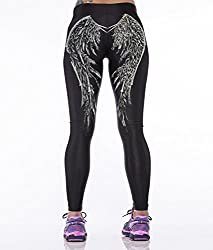 iSweven wings Design Printed Polyester Multicolor Yoga pant Tight legging for womens girls