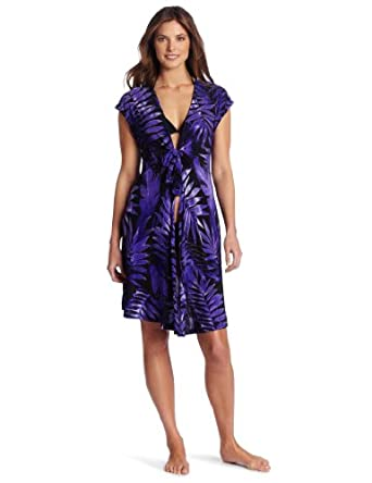 Miraclesuit Women's Fern Print Cover Up, Eggplant, Small