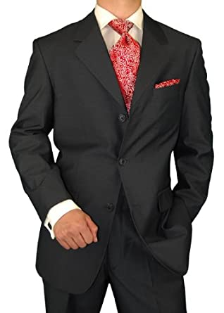 Gino Valentino Men's 3 Button Jacket Flat Front Pants Charcoal Suit (46 Short)