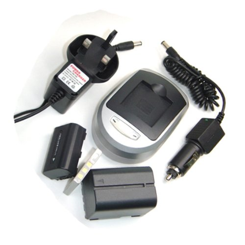 Compatible Accessory Kit - High-Capacity Rechargeable Lithium-ion Battery and Battery Charger ( Mains Leads & Car ) for / fits digital camera/camcorder model SAMSUNG VPDX205 VPDX2050 VPDX2050/XEU VP DX 2050 VP DX2050 VP DX210 SC D381 SC D391 SC DX200 VP D