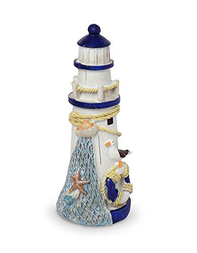 Blauer Leuchtturm mit Fischernetz