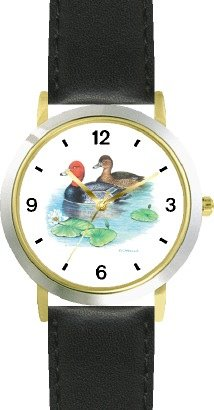 buy Red Head Duck (Drake And Hen) Jp - Bird Animal - Watchbuddy® Deluxe Two-Tone Theme Watch - Arabic Numbers - Black Leather Strap-Size-Large ( Men'S Size Or Jumbo Women'S Size )