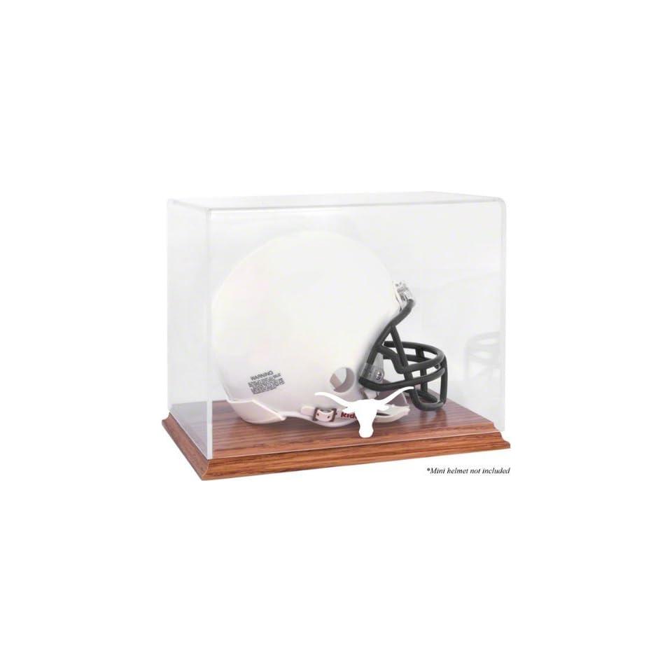Texas Longhorns Team Logo Mini Helmet Display Case  Details Oak Base