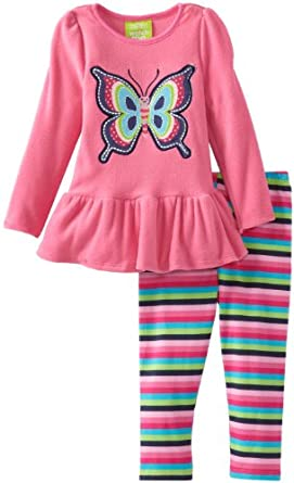 Watch Me Grow! by Sesame Street Little Girls' 2 Piece Striped Butterfly Dress and Pant, Pink, 2T