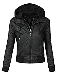 BIADANI Women Faux Leather Hoodie Jacket