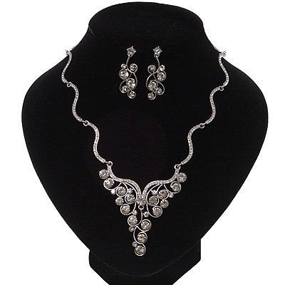 Swarovski Crystal Bib Necklace & Drop Earrings Set In Silver Plating - 44cm Length/ 6cm Extension