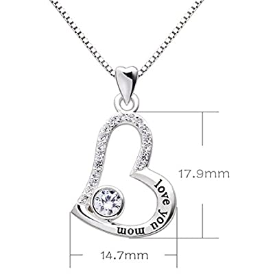 """ALOV Jewelry Sterling Silver """"love you mom"""" Love Heart Pendant Necklace for Birthday, Mother's day,Christmas Gift"""