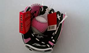 Buy Easton Girl's 9.5 Tee Ball Z-Flex Mitt - EKP9500 GB-P - Black w  Pink & White -... by Easton