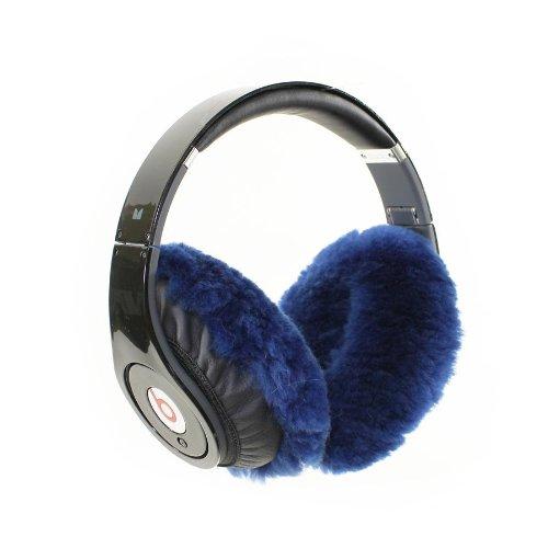 Earmuffies - Fur Earmuff Covers For Headphones - Large Sheepskin Blue (Fits Beats Beats Studio/Executive And Other Popular Headphones)