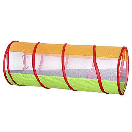 ChezMax Kids Happy Play Tunnel for Indoor and Outdoor Fun, 4 feet long, Orange Tunnel