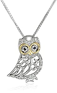 XPY Sterling Silver and 14k Yellow Gold Owl and Diamond Pendant Necklace, 18