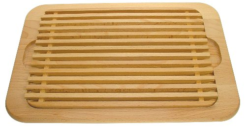 Brotschneidebrett aus Buche mit Krümelgitter, 38,5 x 27 x 1,9 cm