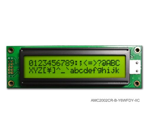 20X2 Character Lcd Module Black On Yellow Green With Yellow Backlight Serial Interface Amc2002Cr-B-Y6Wfdy-I2C