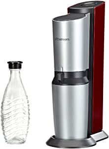 SodaStream 1016512491 Water Carbonator Crystal Red Including 1 Aluminium Gas Cylinder 60 l and 1 0.6 l Glass Carafe