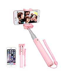 Fotopro Selfie Stick Monopod Super Light with Built-in Bluetooth Control for iPhone 6 Android,Pink