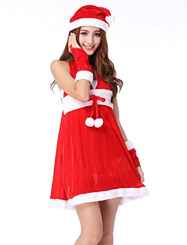 Fllt Women's Sexy Red Christmas Outfit Costumes Naughty Sweet Santa Dress Lingerie