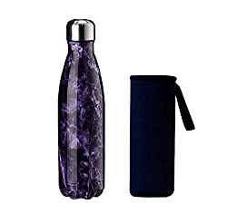 Yeevion Stainless Steel Water Bottle Insulated Hot Cold Cola Bottle Carrier Purple