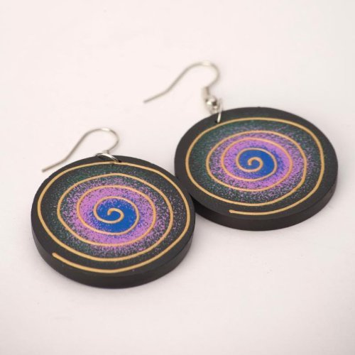 Spiral 35 mm gold boho natural earrings wood wooden