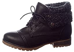 REFRESH WYNNE-01 Women\'s combat style lace up ankle bootie,7 B(M) US,Black