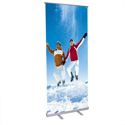 Economy Telescopic Rollup Retractable Banner Stand 32 Inches By 79 Inches