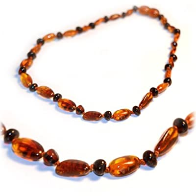 "The Art of CureTM *SAFETY KNOTTED* Cognac Bean & Round Cherry - Certifed Baltic Amber Baby Teething Necklace- w/""THE ART OF CURETM"" Jewelry Pouch from The Art of Cure"