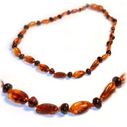 "Details for The Art of CureTM *SAFETY KNOTTED* Cognac Bean & Round Cherry - Certifed Baltic Amber Baby Teething Necklace- w/""THE ART OF CURETM"" Jewelry Pouch from The Art of Cure"