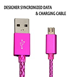 Hello Zone Exclusive Designer Series Micro USB Data Charging/Sync Cable for Motorola Moto G (3rd Generation) -Pink