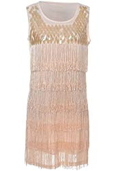 Anna-Kaci Women's S/M Fit Sequined and Fringed 1920s Flapper Inspired Dress