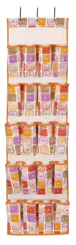 Household Essentials 1434 20-Pocket Over-the-Door Shoe Organizer, Graphic Square