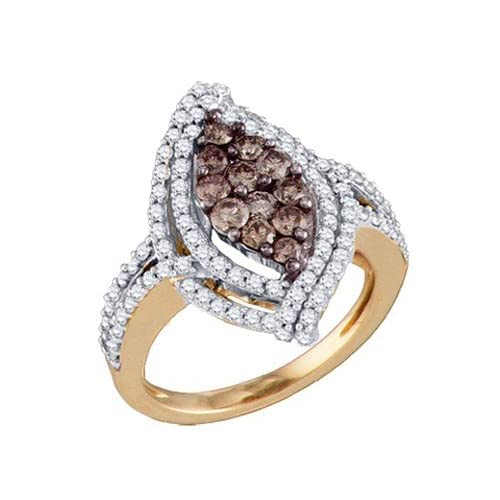 10k Rose Gold Ring 1.58 ct Rich Champagne Diamond & White Form an Eye Beauty Design Amazing Clarity   Incl. ClassicDiamondHouse Free Gift Box & Cleaning Cloth