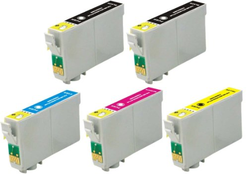 5 Pack Elite Supplies ® Remanufactured Inkjet Cartridge Replacement for #69 T069 T0691, Epson T069120 T069220 T069320 T069420 Works With Epson Stylus C120, Stylus CX5000, Stylus CX6000, Stylus CX7000F, Stylus CX7400, Stylus CX7450, Stylus CX8400, Stylus CX9400Fax, Stylus CX9475Fax, Stylus N10, Stylus N11, Stylus NX100,Stylus NX105, Stylus NX11, Stylus NX110, Stylus NX115, Stylus NX200, Stylus NX215, Stylus NX300, Stylus NX305, Stylus NX400, Stylus NX410, Stylus NX415, Stylus NX510, Stylus NX515, WorkForce 1100, WorkForce 1300, WorkForce 30, WorkForce 310, WorkForce 315, WorkForce 40, WorkForce 500, WorkForce 600, WorkForce 610, WorkForce 615 (2 Black, 1 Cyan, 1 Magenta, 1 Yellow)