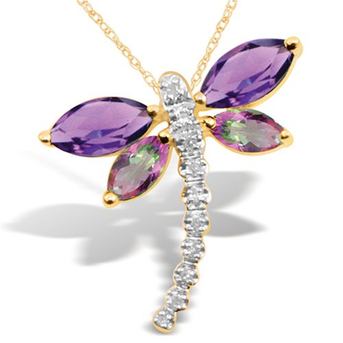 Yellow Gold Gemstone Diamond Dragonfly Pendant Necklace, 18 inch chain