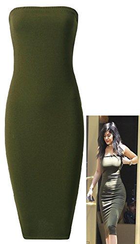 Crazy Girls Women's Celeb Kim Style Boobtube Strapless Bandeau Midi Dress