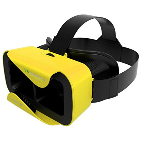 """3D Virtual Reality Headset Glasses VR Shinecon 3 .0 Video Movie Game Oculus Rift Glasses for 4.7""""- 6.0"""" IOS Android Smartphones iPhone Samsung HTC Sony Caidishi (Yellow)"""