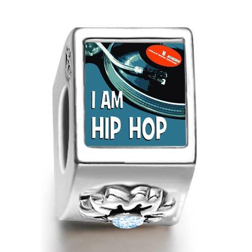 Burning Love Music I Am Hip Hop March Birthstone Photo Flower European Charm Bead Bracelets