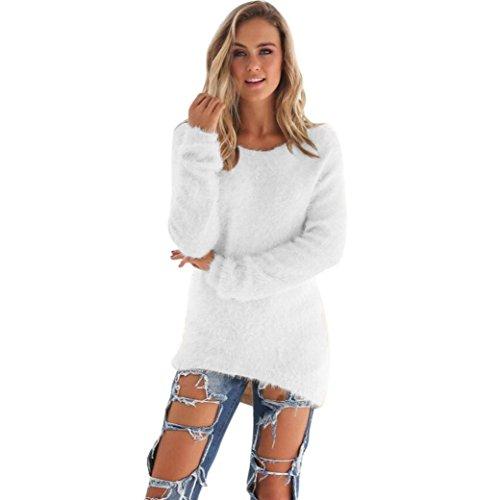 Donna sportiva Solid maniche lunghe jumper Maglioni camicetta (M, Bianco)