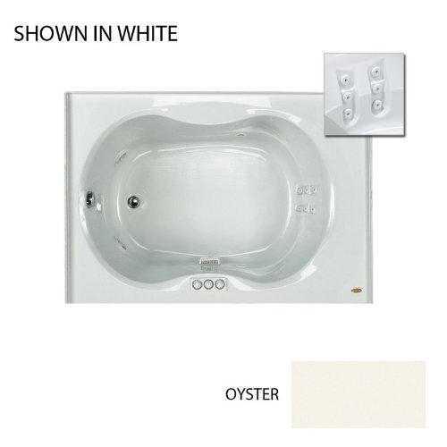 """Jacuzzi Esp6042Wlr1Bmy Oyster 60"""" X 42"""" Espree Drop In Whirlpool Bathtub With Back Message, 10 Jets, Pneumatic Controls, Left Drain And Right Pump"""