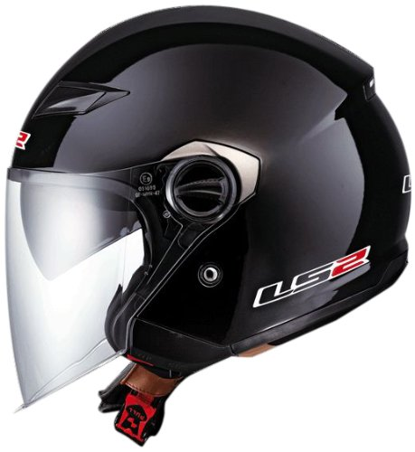 LS2 Helmets OF569 Open Face Motorcycle Helmet (Solid Gloss Black, X-Large)