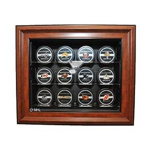 NHL Twelve Puck Cabinet Style Display Case in Brown NHL Team: St. Louis Blues, UV...