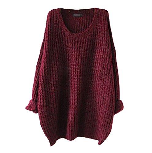 YouPue Donna Maniche Lunghe Pullover Maglia Maglione Girocollo Casuale maglioni oversize Sweatshirt Tops Maglietta Vino Rosso