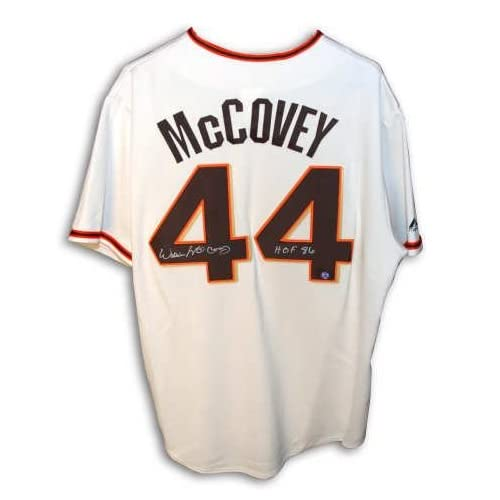 Autographed Willie McCovey San Francisco Giants Cream Colored Majestic Jersey Inscribed Hof 86